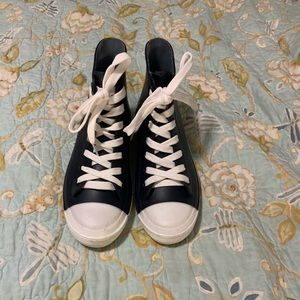 Navy rubber high top boots